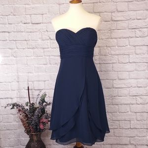 BILL LEVKOFF STRAPLESS FORMAL NAVY DRESS
